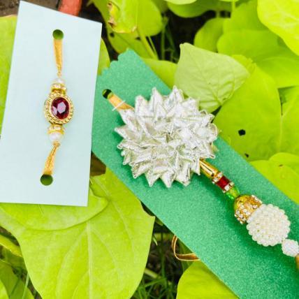 Handmade Flower Rakhi Lumba Combo