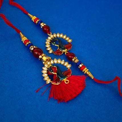 Peacock Rakhi  and Lumba Set