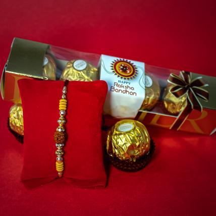 Beautiful Rudraksh Rakhi Chocolate Set