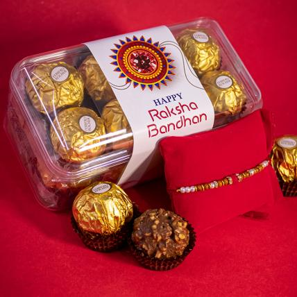 Red Pearl Rakhi and 16pc Forrero Rocher