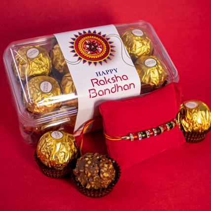 Red Green Pearl Rakhi and 16pc Forrero Rocher