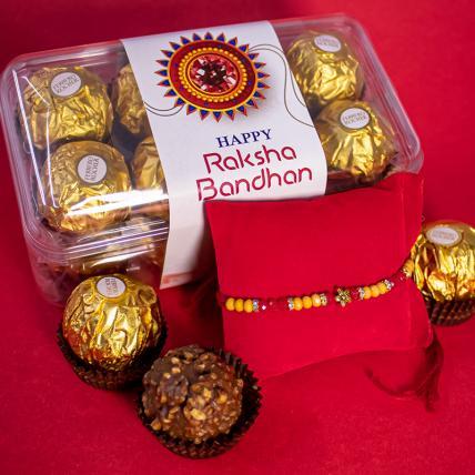 Red Yellow Rakhi and 16pc Forrero Rocher