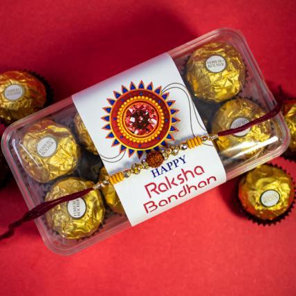 Rudraksh Rakhi and 16 pc Forrero Rocher