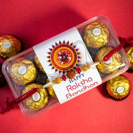 Rudraksha Rakhi and 16 pc Forrero Rocher