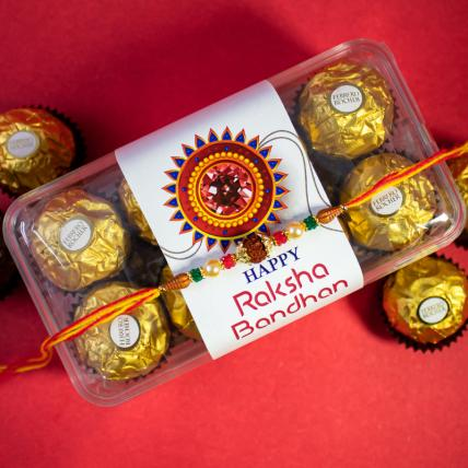 Colourful Rudraksha Rakhi and 16 pc Forrero Rocher