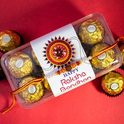Pearl Rudraksha Rakhi and 16 pc Forrero Rocher