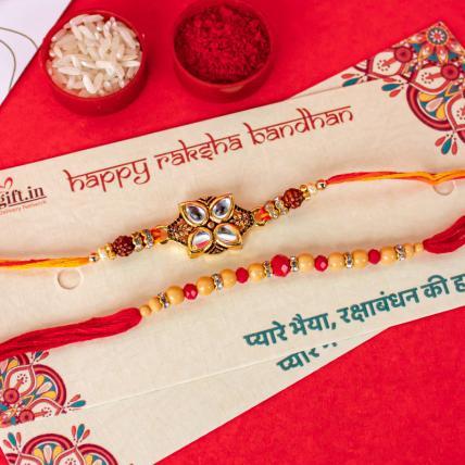 Golden Pearl Leaf Rakhi Set