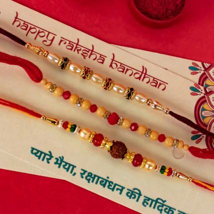 Pearl Rudraksh Rakhi Combo