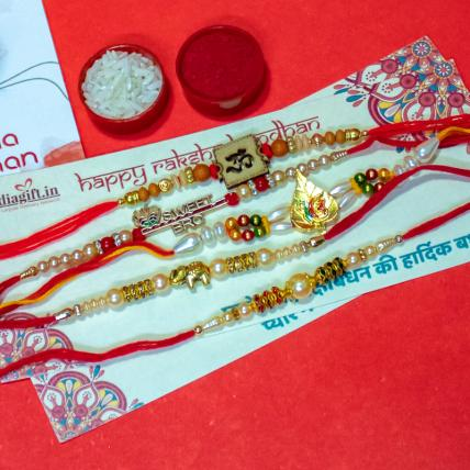 Elegant Rakhi Combo of 5
