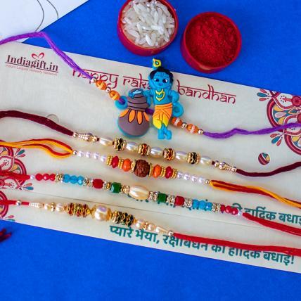 Krishna Rakhi Combo of 5