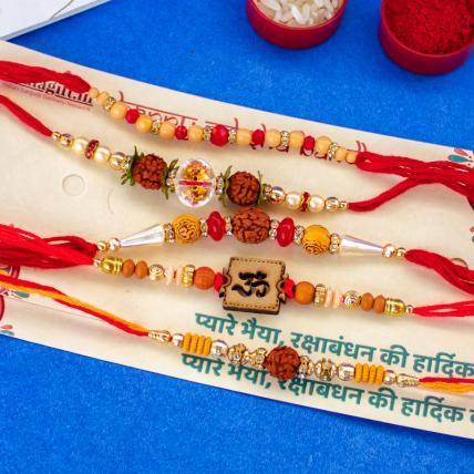 Rudraksh Rakhi Combo of 5