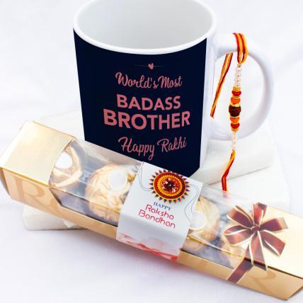 Badass Brother Rakhi & Forrero Rocher Combo