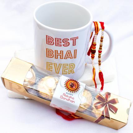 Best Bhai Ever Mug with Rakhi & Forrero Rocher