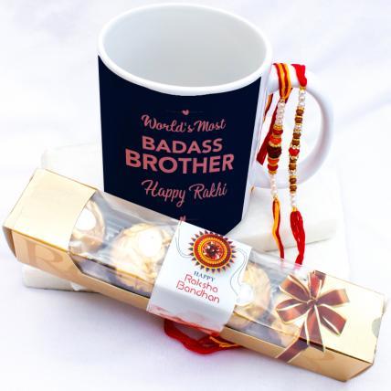 Badass Brother Mug with Rakhi & Forrero Rocher
