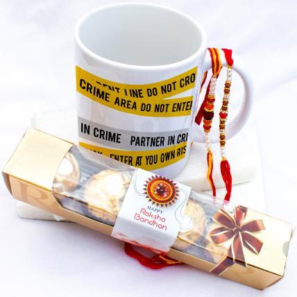 Crime Partner Mug with Rakhi & Forrero Rocher